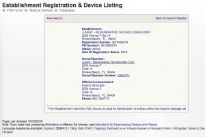 Juvent's FDA Registration Page