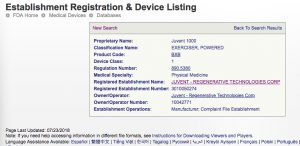 Juvent FDA Device Registration
